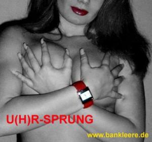 rote Uhr auf nackter Haut